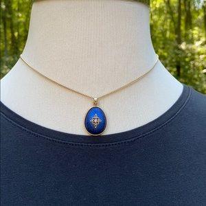 """Avon Vintage Blue Pendant Gold Chain Necklace 17"""""""
